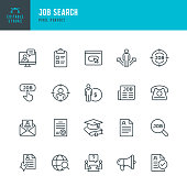 Job Search - thin line vector icon set. 20 linear icon. Pixel perfect. Editable outline stroke. The set contains icons: Job Search, Job Listing, Job Interview, Diploma, Education, Application Form, Web Page, Resume, Wages.