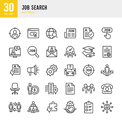 Job Search - thin line vector icon set. Pixel perfect. The set contains icons: Job Search, Teamwork, Resume, Handshake, Manager.