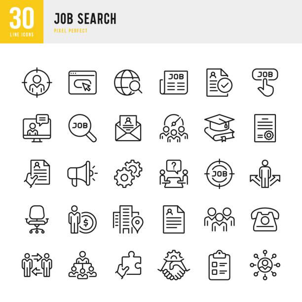 job search - zestaw ikon wektora cienkiej linii. piksel idealny. zestaw zawiera ikony: poszukiwanie pracy, praca zespołowa, wznów, uścisk dłoni, menedżer. - umiejętność stock illustrations