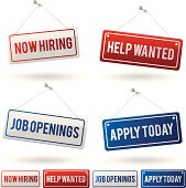 New jobs, employment and hiring signs. EPS 10 file. Transparency used on highlight elements.