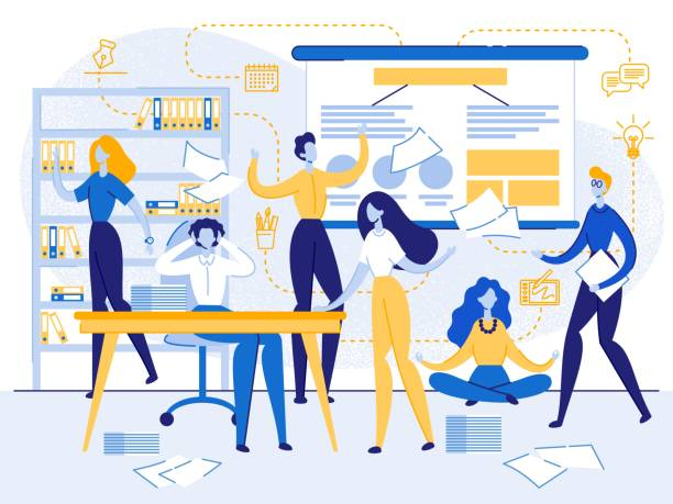 Job Stress, Meditation, Struggling with Deadline Work Rush, Office Chaos, Busy, Nervous Workers Fussing at Workplace. Colleagues Teamwork. Hurrying, Job Stress, Meditation, Struggling with Deadline. Overwork People, Cartoon Flat Vector Illustration coworker stock illustrations