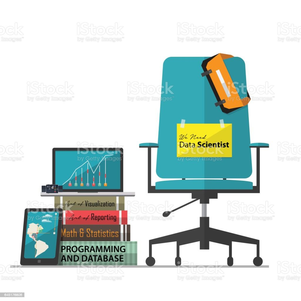 Job vacancy for Data Scientist with office workplace chair vector art illustration