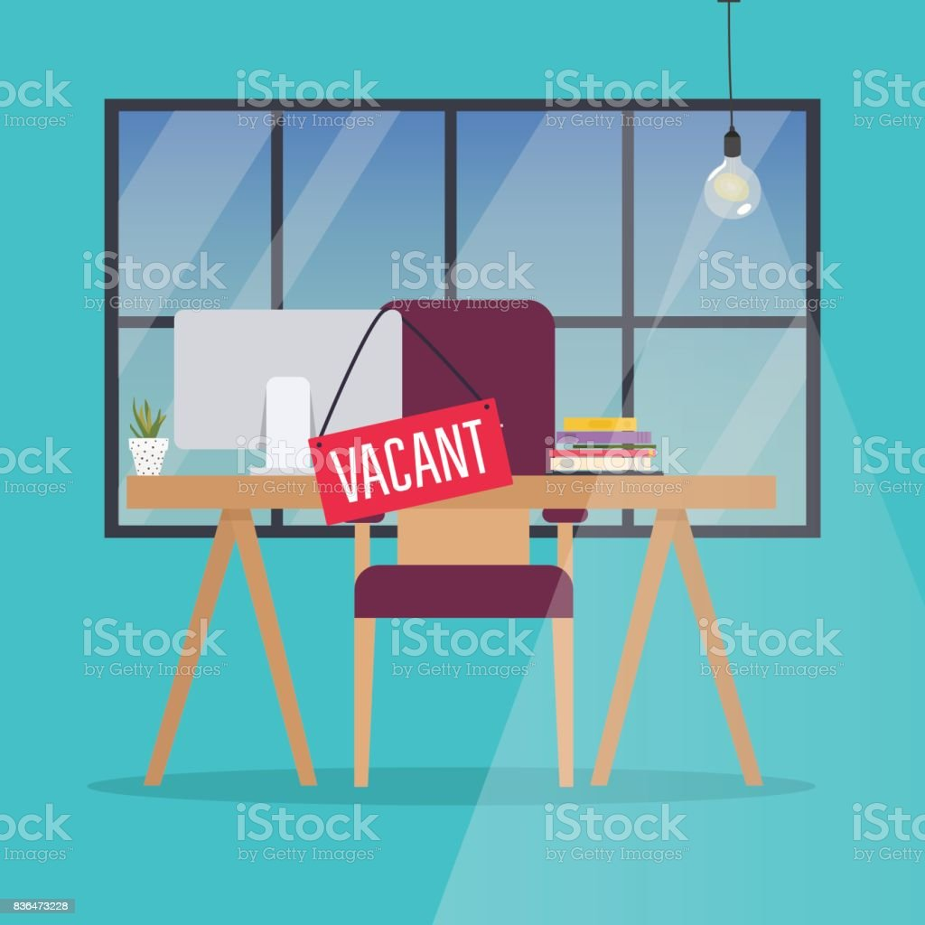 Job vacancy. Office desk with chair, computer and Vacant sign hanged on it. Business hiring and recruiting concept. vector art illustration