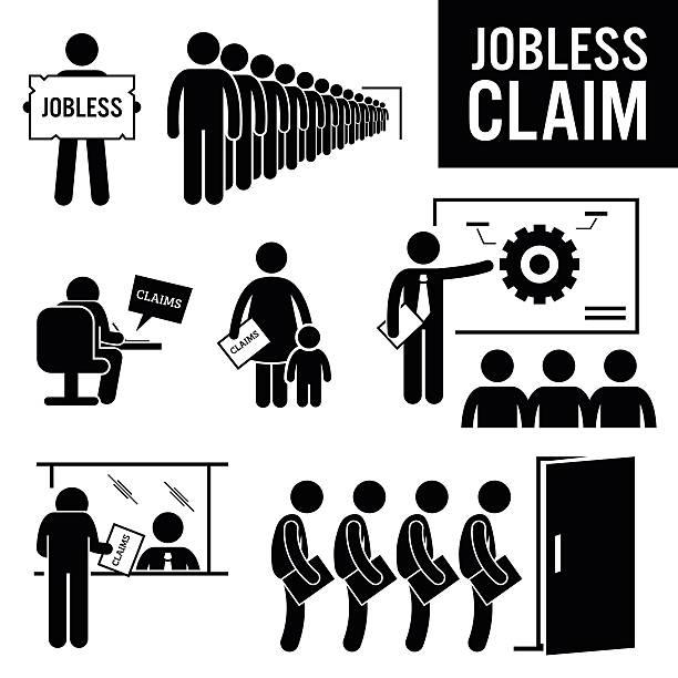 jobless 청구사항 실업 혜택 스틱피겨 그림 문자 아이콘 - 정치와 정부 stock illustrations