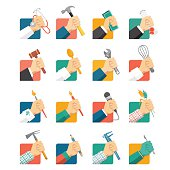 Jobs avatar icons set with hands and tools