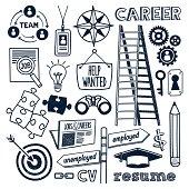 Jobs & Career themed (doodle) hand-drawn illustration.