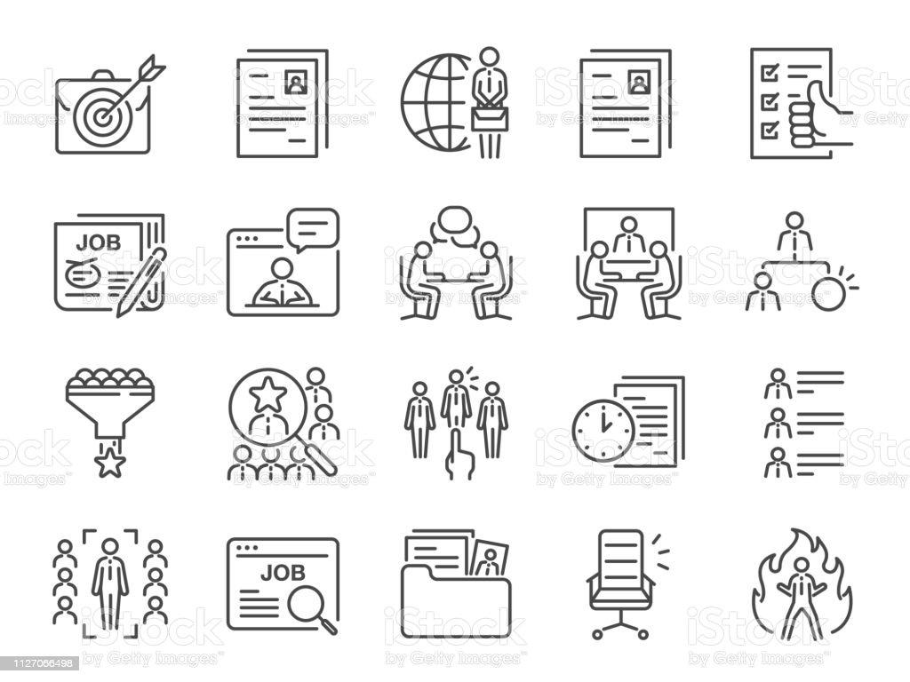 Vacatures lijn pictogramserie. Opgenomen iconen als carrière, op zoek naar werk, werkgelegenheid, werven, werving en meer. - Royalty-free Achtervolging - Begrippen vectorkunst