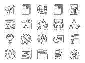 Jobs line icon set. Included icons as career, seeking job, employment, recruit, recruitment and more.