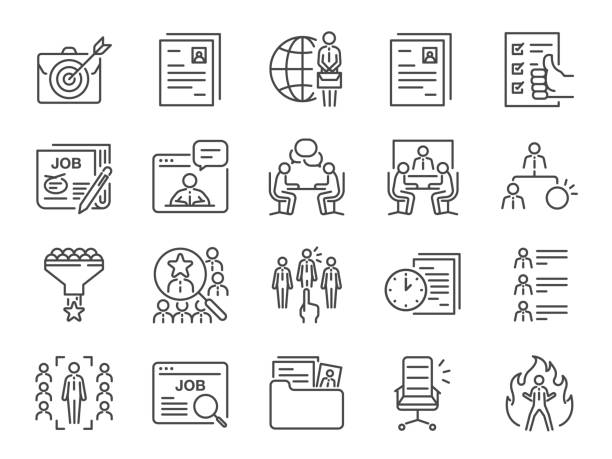 illustrazioni stock, clip art, cartoni animati e icone di tendenza di jobs line icon set. included icons as career, seeking job, employment, recruit, recruitment and more. - lavoro