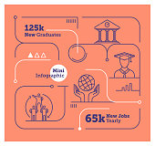 Vector Infographic Line Design Elements for Job Creation