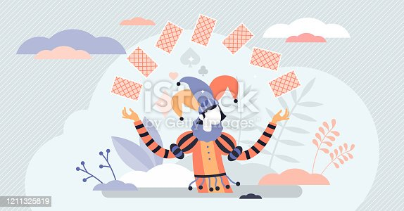 Jocker card game character concept, flat tiny person vector illustration. Abstract life and business risk taking symbol. Tricky fortune promising person. Gambling and relying on the luck.