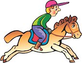 jockey on the horse cartoon
