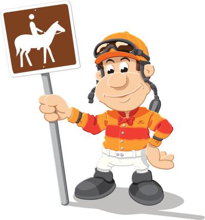 Jockey Horse Sign Cartoon Man Isolated