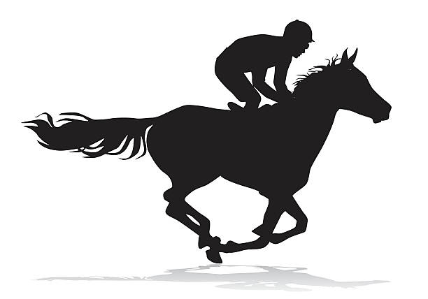 Jockey On Horse Vector Art Illustration