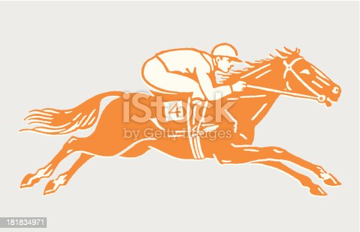 Jockey on Racehorse in Action