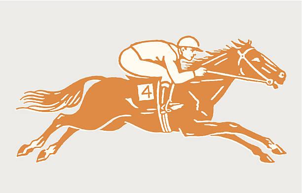 bildbanksillustrationer, clip art samt tecknat material och ikoner med jockey on racehorse in action - häst tävling