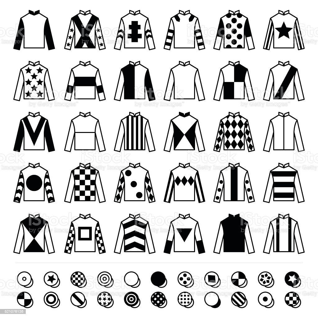 Jockey uniform - hats, silks and jackets, horse riding icons vector art illustration