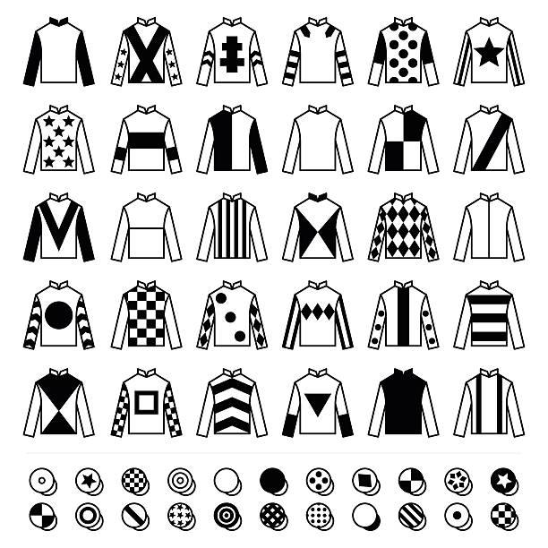 jockey uniform - hats, silks and jackets, horse riding icons - horse racing stock illustrations