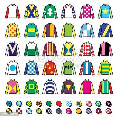 Vector icons set - horse racing jockey uniform designs isolated on white