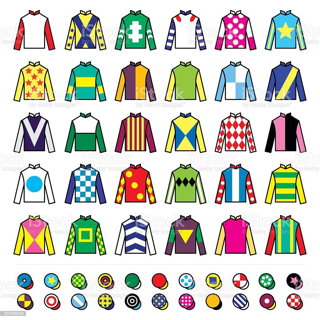 Jockey uniform - jackets, silks and hats, horse riding vector art illustration