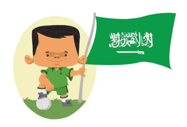 Jogador de futebol da Arábia Criança com uniforme da Arábia segurando a bandeira. futebol stock illustrations