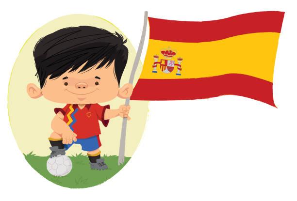 ilustrações de stock, clip art, desenhos animados e ícones de jogador de futebol da espanha - soccer supporter portrait