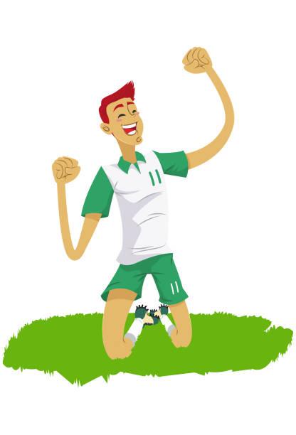 Jogador de futebol no estadio Jogando futebol futebol stock illustrations