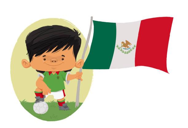 Jogador de futebol (México) Jogador de futebol, com traços infantis com uniforme e bandeira do México futebol stock illustrations