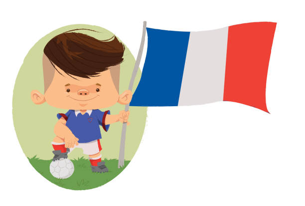 Jogador de futebol (França) Jogador de futebol, com traços infantis com uniforme e bandeira da França. futebol stock illustrations