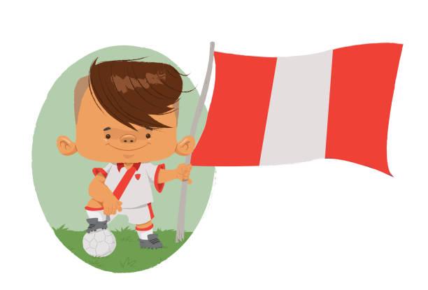 Jogador de futebol (Peru) Jogador de futebol, com traços infantis com uniforme e bandeira do Peru. futebol stock illustrations