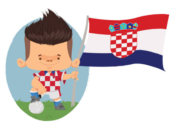 Jogador de futebol (Croácia) Jogador de futebol, com traços infantis com uniforme e bandeira da Croácia. futebol stock illustrations