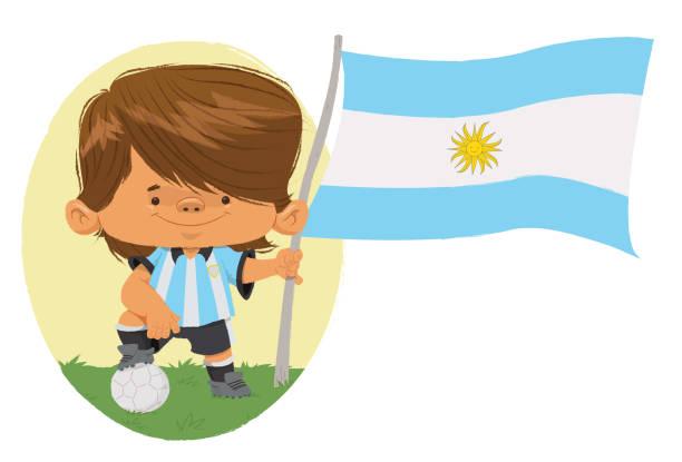 Jogador de futebol (Argentina) Jogador de futebol, com traços infantis com uniforme e bandeira da Argentina. futebol stock illustrations
