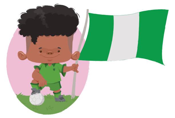 Jogador de futebol (Nigéria) Jogador de futebol, com traços infantis com uniforme e bandeira da Nigéria. futebol stock illustrations