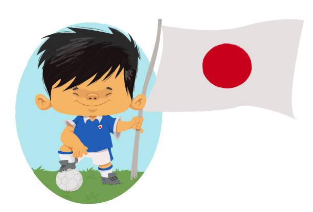 Jogador de futebol (Japão) Jogador de futebol, com traços infantis com uniforme e bandeira do Japão. futebol stock illustrations