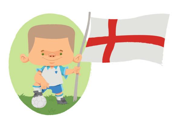 Jogador de futebol (Inglaterra) Jogador de futebol, com traços infantis com uniforme e bandeira da Inglaterra. futebol stock illustrations