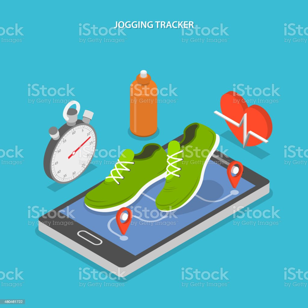 Jogging and running flat isometric concept. vector art illustration