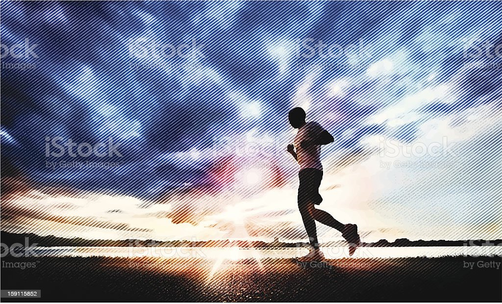 Jogging at Sunset royalty-free stock vector art