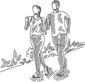 Line drawing of Jogging Couple. Elements are grouped.contains eps10 and high resolution jpeg.