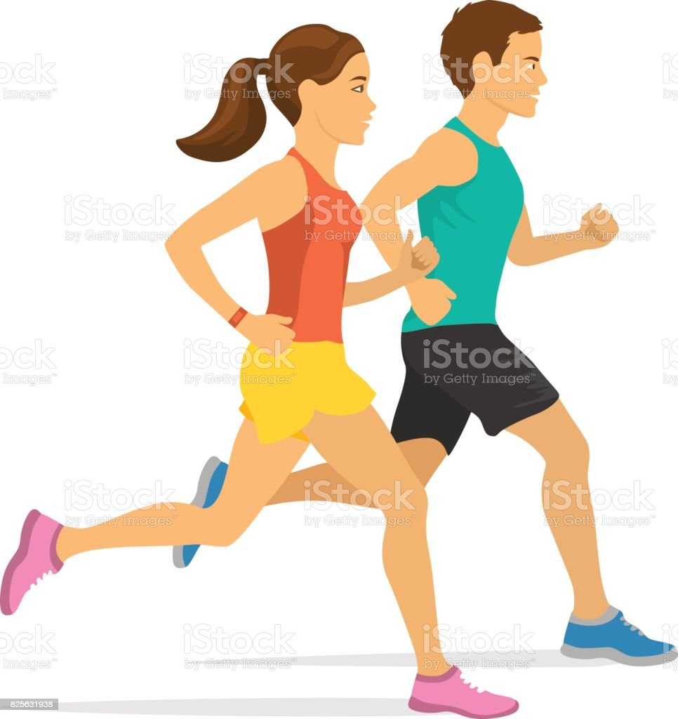 royalty free young couple jogging clip art vector images rh istockphoto com free clipart woman running free clipart woman running