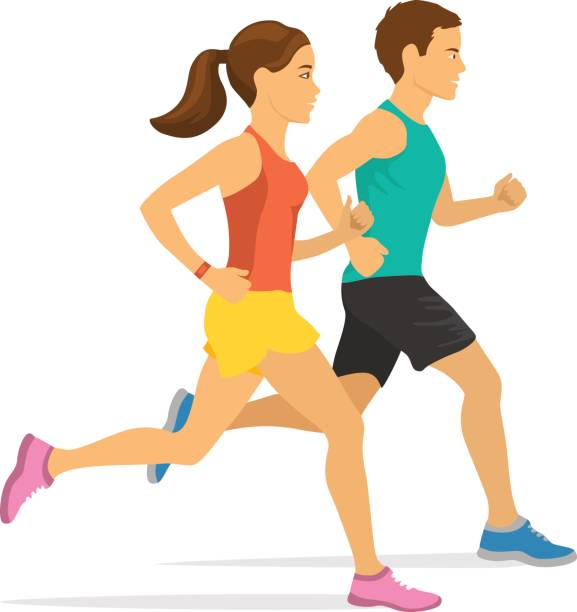 jogging couple. man and woman running jogging couple. man and woman running young couple stock illustrations