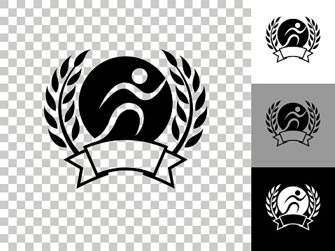 Jogging Emblem Icon on Checkerboard Transparent Background
