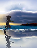 Illustration of Woman running by the ocean at sunset.
