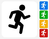 Jogging Icon. This 100% royalty free vector illustration features the main icon pictured in black inside a white square. The alternative color options in blue, green, yellow and red are on the right of the icon and are arranged in a vertical column.