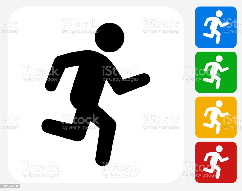 Jogging Icon Flat Graphic Design vector art illustration