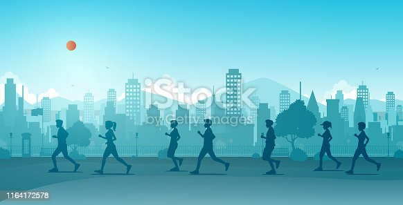 istock Jogging in the city 1164172578