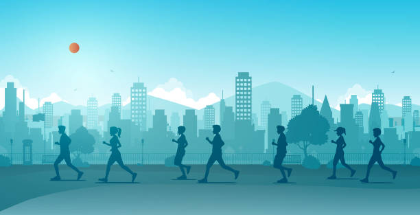 Jogging in the city Men and women are running along the city streets. race distance stock illustrations