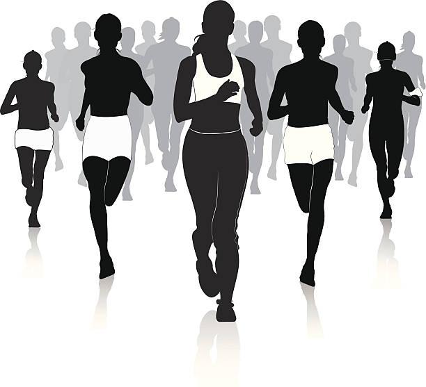 jogging in der stadt - chefin stock-grafiken, -clipart, -cartoons und -symbole