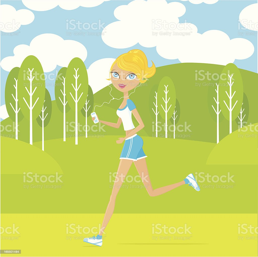 Jogging in the park royalty-free stock vector art