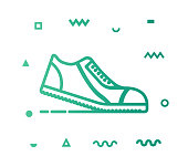 Jogging outline style icon design with decorations and gradient color. Line vector icon illustration for modern infographics, mobile designs and web banners.