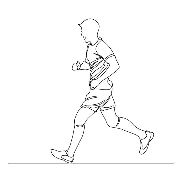 Jogging man Jogging man in continuous line art drawing style. Runner black linear sketch isolated on white background. Vector illustration one man only stock illustrations